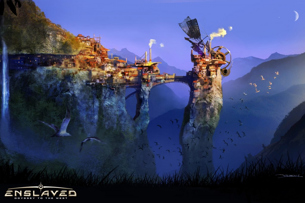 enslaved odyssey to the west concept art trip's village