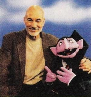 Patrick Stewart the Count Sesame Street