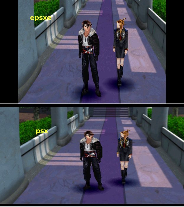 final fantasy VIII HD A comparison of Final Fantasy VIII rendered at a higher resolution using software emulation (top) and the default Playstation 1 resolution (bottom)