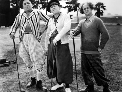 "Three Stooges Golf Curly, Moe, and Larry in classic form. From their short subject film, ""Three Little Beers""."